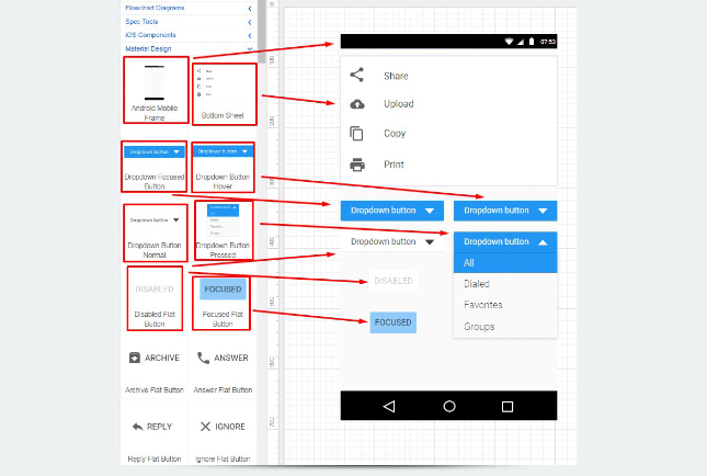 Material Design - dropdown button